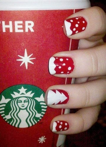 Polka dotted nail art for Christmas