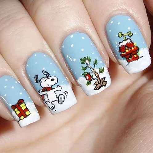 Snoopy Christmas Nails