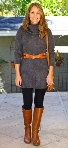 Sweater Dress With Leggings And Boots