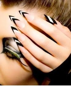 White stiletto nail designs for girl