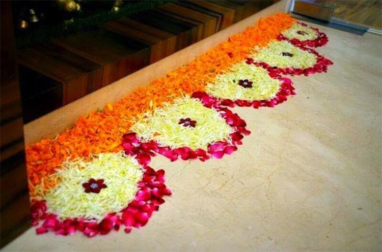 Latest flower rangoli designs 2018 that will steal your for Simple diwali home decorations