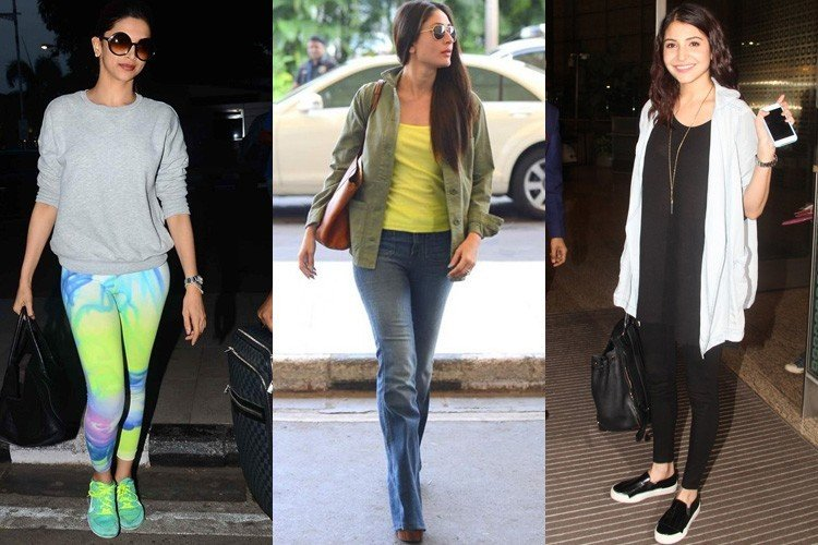 Bollywood Celebrities Flying In Style Airport Fashion 2015