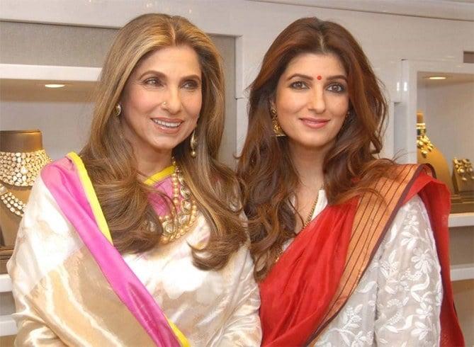 Dimple Kapadia And Twinkle Khanna at jewellery store