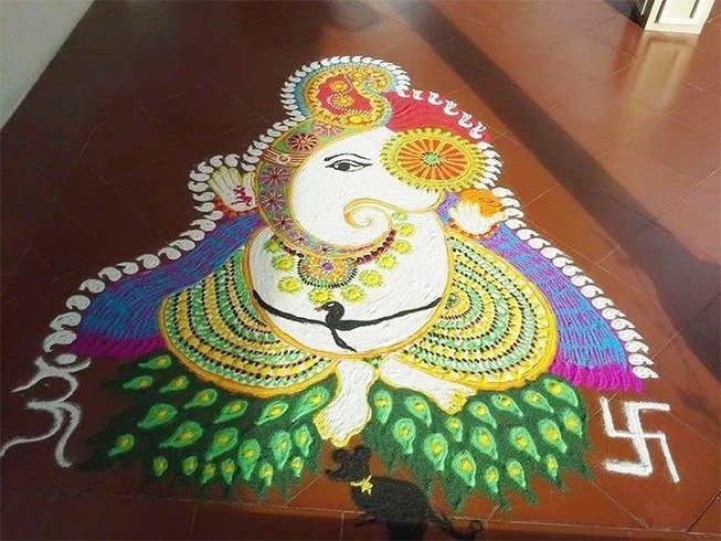 Ganesh Rangoli Designs for Festival