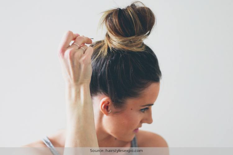 Messy Top Knot For Short Hair
