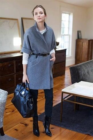 Oversized knee-length coat