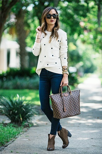 Polka dotted sweat shirt