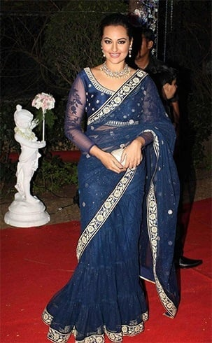 Sonakshi Sinha In Blue Ritu Kumar Saree