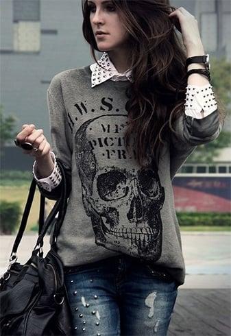 Sweatshirt and ripped denims