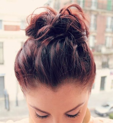 Top Knot Bun For Short Hair