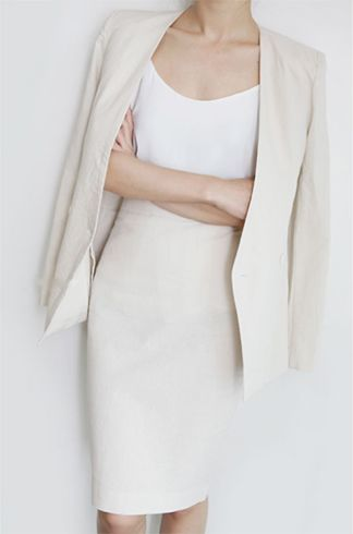 Long white dress with white cropped coat