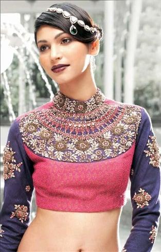 Blouse style with gota patti work