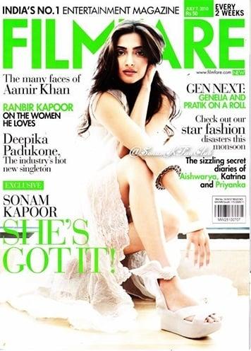 Sonam Kapoor Filmfare magazine cover