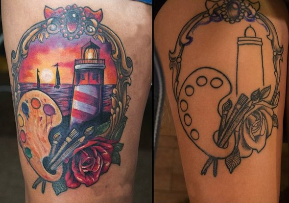 Star cover up tattoo