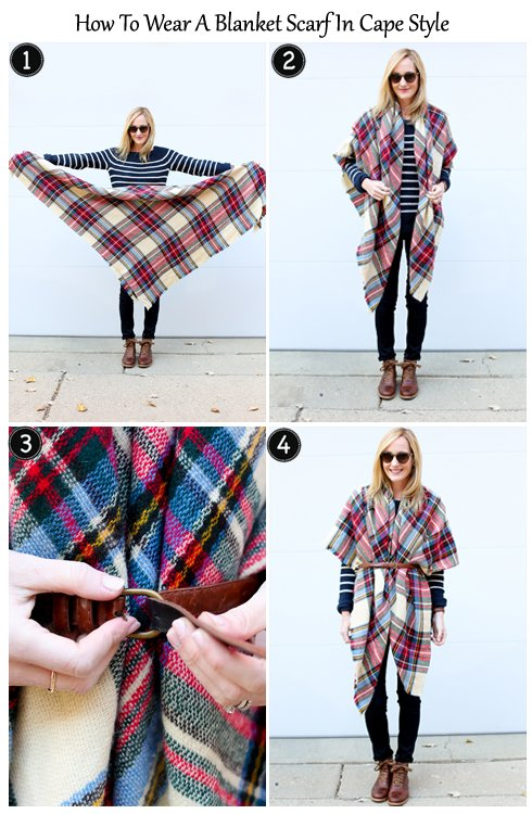 How to Wear Blanket Scaf in Cape Style