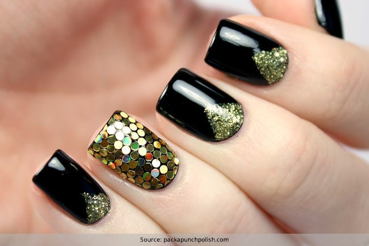 Sensational And Sumptuous Gold And Black Nail Art Designs . - Sensational And Sumptuous Gold And Black Nail Art Designs