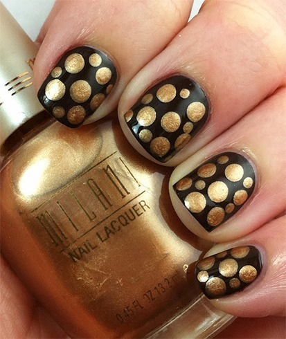 Black Nail With Gold Designs