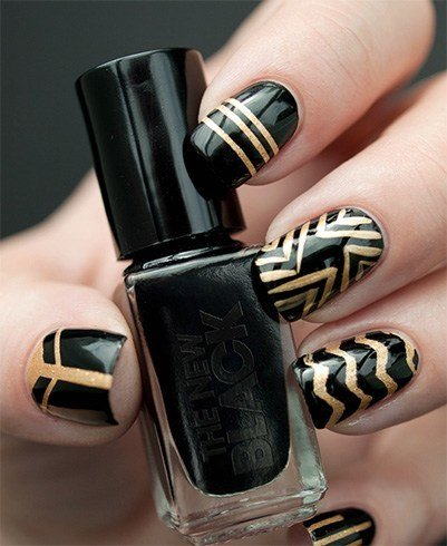 Black Nail With Gold Stripe