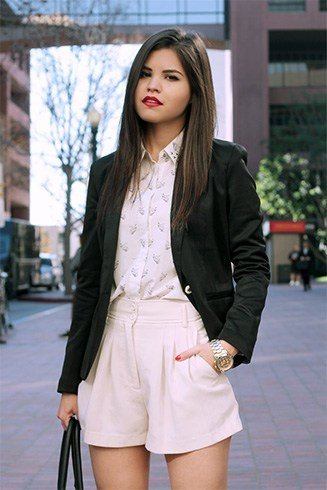Blazer with high waisted shorts