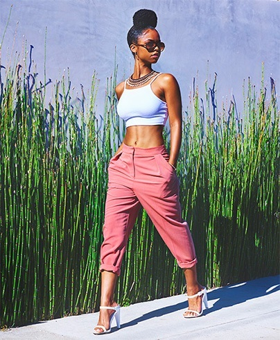 Crop top and ankle length pants