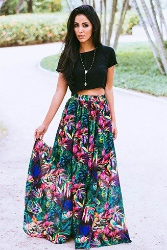 Crop top with floral long skirt