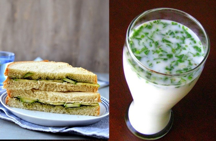 Cucumber sandwich and butter milk