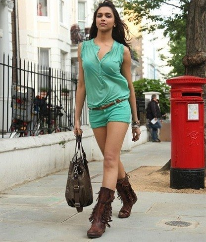 Deepika Padukone in green shorts