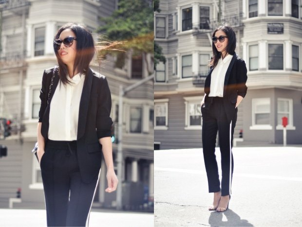 Drapey pants with blazer