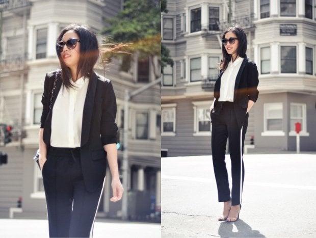 Drapey pants with blazer