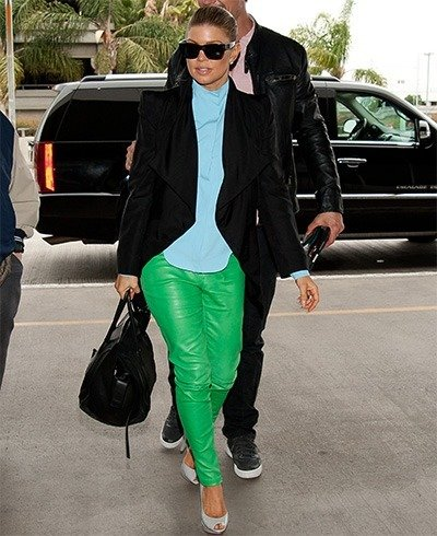 Fergie in green leather pants