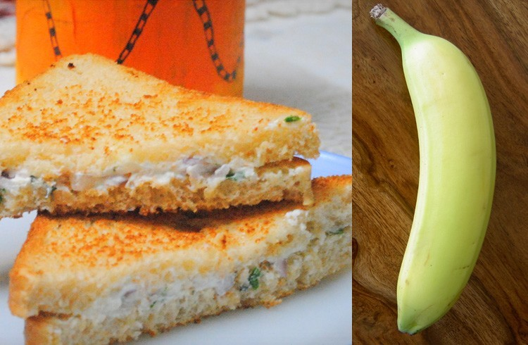 Hung curd sandwich and banana