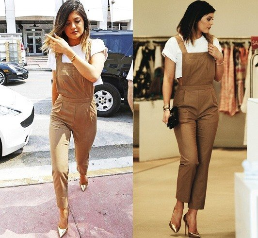 Kylie Jenner in Dungarees