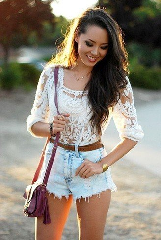 Lace top with high waisted shorts