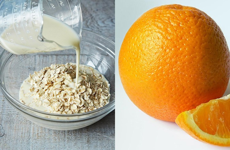 Oatmeal milk and orange
