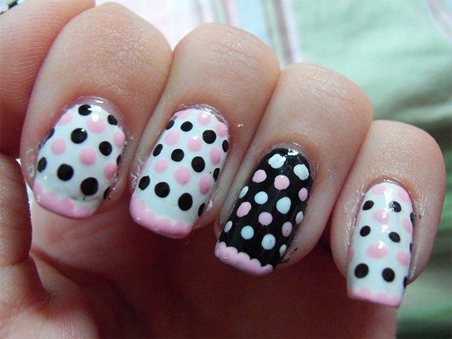 Pink and White Polka Dot Nails