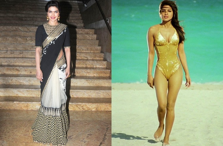 Priyanka Chopra in Saree and Bikini