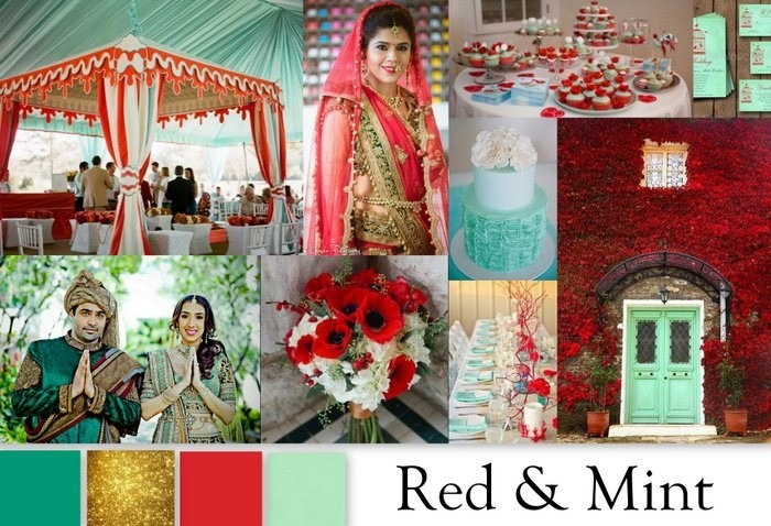 Red and mint colot palettes
