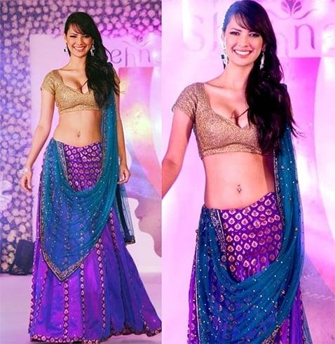 Rochelle Maria Rao in velvet designer saree