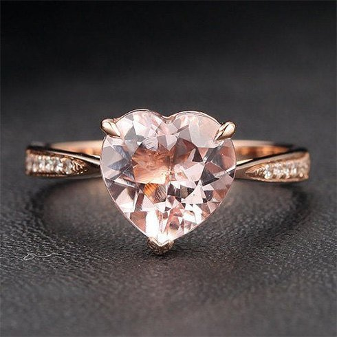 Rose-gold Morganite Diamond ring