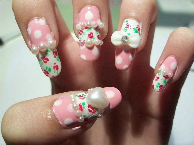 Rose Pearl Nail Art