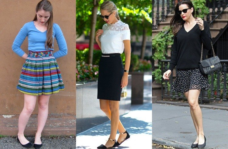 Short skirts and ballerina flats