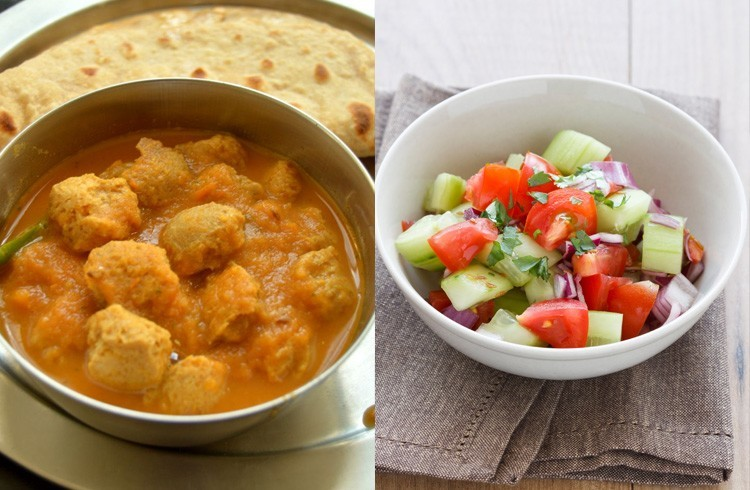 soya curry with chapattis and salad