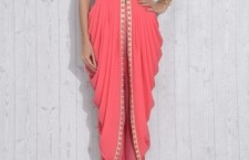 Peach Georgette and Net Embroidered Jacket Style Dress