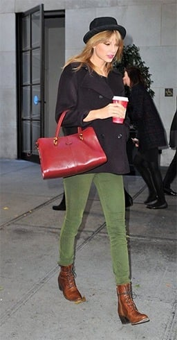 Taylor Swift in green pants