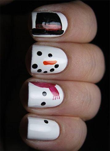 Twisted Snowman Nail Art
