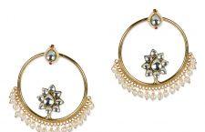gold chandbali kundan earrings
