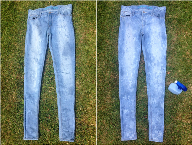 Bleaching jeans lighter