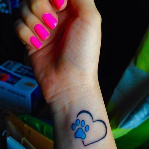 Heart Paw Tattoos for Girls