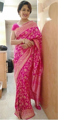 Madhuri Dixit pink and gold saree by Ritu Kumar