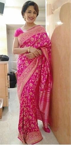 Madhuri Dixit pink and gold saree by Ritu Kumar